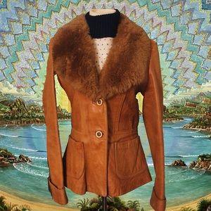 𓂀VTG𓂀Sheep Mates Leather Sheepskin Trim Coat (S)